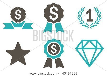 Award vector icons. Pictogram style is bicolor grey and cyan flat icons with rounded angles on a white background.