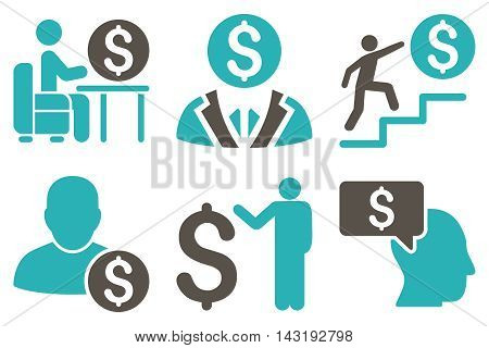 Businessman vector icons. Pictogram style is bicolor grey and cyan flat icons with rounded angles on a white background.