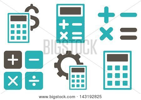 Calculator vector icons. Pictogram style is bicolor grey and cyan flat icons with rounded angles on a white background.