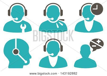 Call Center Operator vector icons. Pictogram style is bicolor grey and cyan flat icons with rounded angles on a white background.