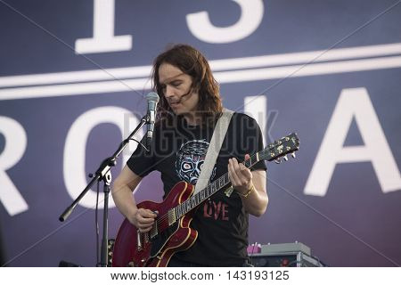 Bontida, Romania - July 17, 2016: Irish post-rock band God is an Astronaut performing live on the stage at Electric Castle festival