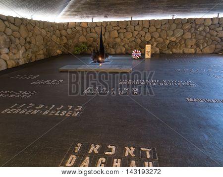 Jerusalem Israel - July 16, 2015 r .: Monument in Yad Vashem.Holocaust Memorial in Jerusalem, Israel