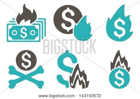 Fire Disaster vector icons. Pictogram style is bicolor grey and cyan flat icons with rounded angles on a white background.
