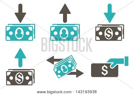 Pay Banknotes vector icons. Pictogram style is bicolor grey and cyan flat icons with rounded angles on a white background.