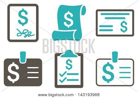 Payment Cheque vector icons. Pictogram style is bicolor grey and cyan flat icons with rounded angles on a white background.