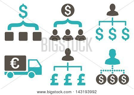 Payment Collector vector icons. Pictogram style is bicolor grey and cyan flat icons with rounded angles on a white background.