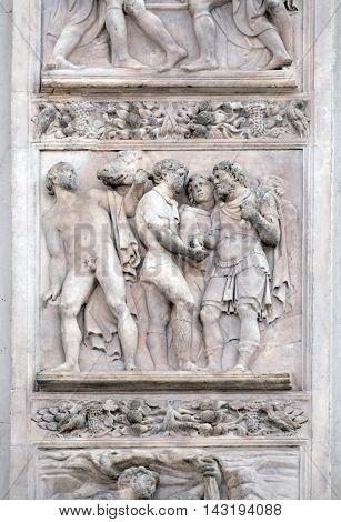 BOLOGNA, ITALY - JUNE 04: The Story of Joseph and His Brethren by Amico Aspertini, right door of San Petronio Basilica in Bologna, Italy, on June 04, 2015