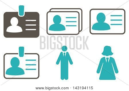 Person Account Card vector icons. Pictogram style is bicolor grey and cyan flat icons with rounded angles on a white background.