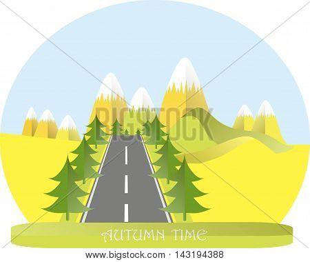 Series four seasons. Mountain landscape, road in autumn time, fir trees. Modern flat design, design element, vector