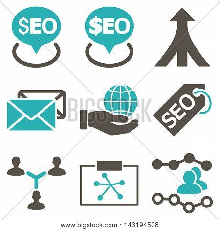 Seo vector icons. Pictogram style is bicolor grey and cyan flat icons with rounded angles on a white background.
