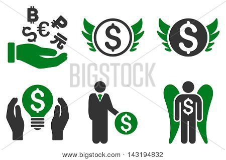 Angel Investor vector icons. Pictogram style is bicolor green and gray flat icons with rounded angles on a white background.