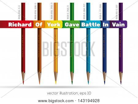 Pencils of rainbow colors. Richard Of York Gave Battle In Vain. ROYGBIV. Vector illustration