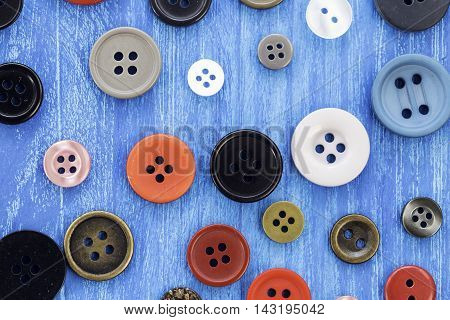 Lots of colorful sewing buttons, vintage, background