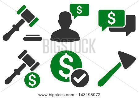 Auction vector icons. Pictogram style is bicolor green and gray flat icons with rounded angles on a white background.