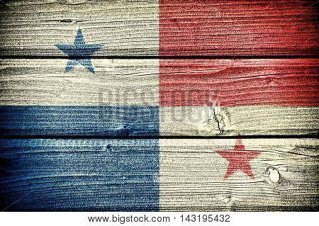 flag of Panama painted on old grungy wooden background: 3d illustration