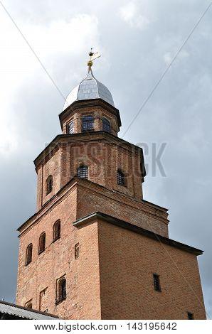 Kokuy tower of Novgorod Kremlin fortress in Veliky Novgorod Russia. Closeup architecture view.