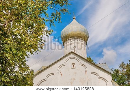 Closeup view of dome of Twelve Apostles on the Abyss church in Veliky Novgorod Russia. Architecture landscape in summer sunny day