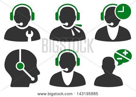 Call Center Operator vector icons. Pictogram style is bicolor green and gray flat icons with rounded angles on a white background.
