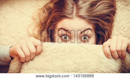 Woman Waking Up Under Wool Woolen Blanket.