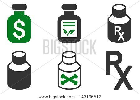 Drugs Vial vector icons. Pictogram style is bicolor green and gray flat icons with rounded angles on a white background.