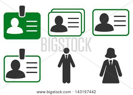 Person Account Card vector icons. Pictogram style is bicolor green and gray flat icons with rounded angles on a white background.