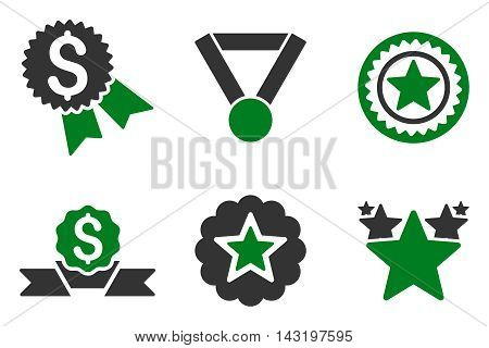 Reward vector icons. Pictogram style is bicolor green and gray flat icons with rounded angles on a white background.