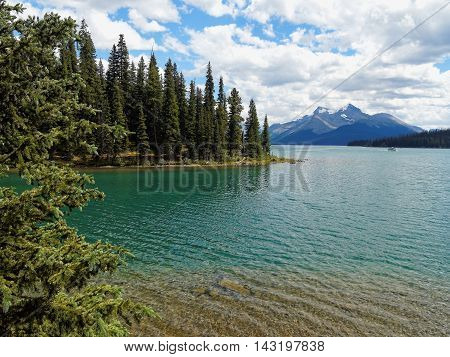 Turquoise Maligne Lake with Mountain Backdrop in Jasper National Park