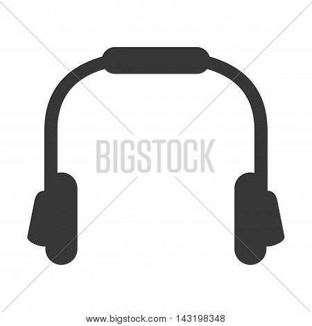 headphone music sound technology silhouette icon. Flat and Isolated design. Vector illustration