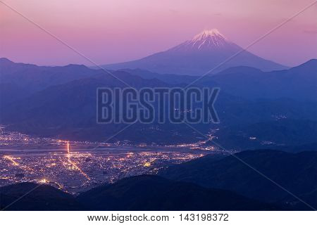 Mt.Fuji and Kofu city in early morning