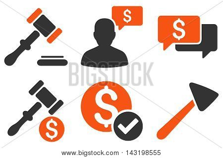 Auction vector icons. Pictogram style is bicolor orange and gray flat icons with rounded angles on a white background.