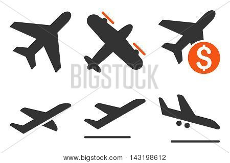 Aviation vector icons. Pictogram style is bicolor orange and gray flat icons with rounded angles on a white background.