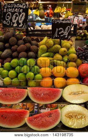Barcelona Spain - May 10 2016. Fruit stand at market called La Boqueria foremost tourist landmarks in Barcelona