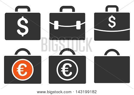 Business Case vector icons. Pictogram style is bicolor orange and gray flat icons with rounded angles on a white background.