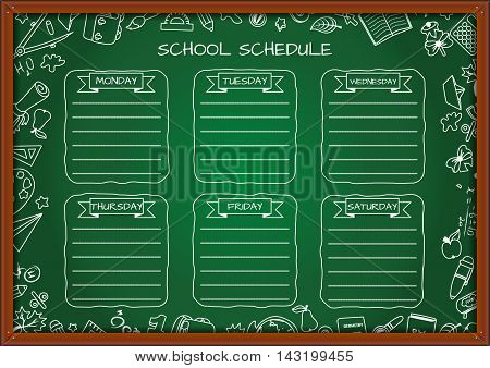 School shedule for a week on blackboard. Vector illustration with school supplies.