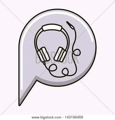 headhones music sound isolated vector illustration design