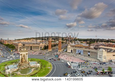 BARCELONA SPAIN - JUNE 10 2016: Fira Barcelona - a trade show and exhibition center in Barcelona Spain. It was built in 1929 to International Exposition.