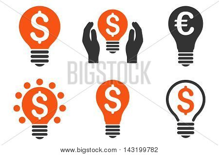 Electric Light Price vector icons. Pictogram style is bicolor orange and gray flat icons with rounded angles on a white background.