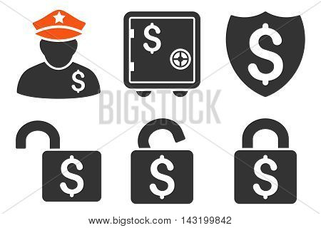 Financial Guard vector icons. Pictogram style is bicolor orange and gray flat icons with rounded angles on a white background.