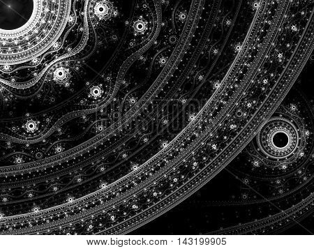 Abstract elegant ornament - computer-generated image. Classic fractal art: elegant pattern of curves and beads. Trendy background for cards, web design, covers.