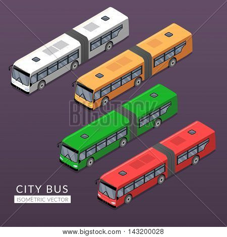Set with city bus icons. Flat vector isometric illustration with transport