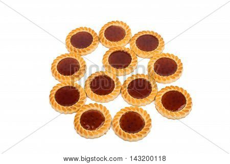 Cookies with jelly isolated on white background