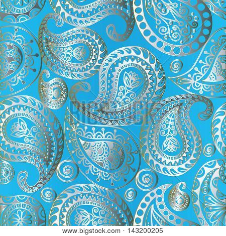 Light blue floral seamless pattern background with line art vintage volumetric silver Paisley ornaments in Eastern style. Luxury illustration and royal 3d decor elements with shadow and highlights. Endless elegant  texture.