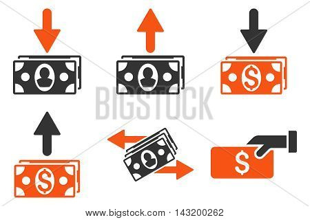 Pay Banknotes vector icons. Pictogram style is bicolor orange and gray flat icons with rounded angles on a white background.