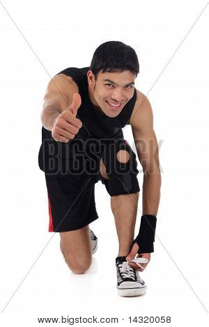 Young Nepalese Man Athlete, Thumb Up