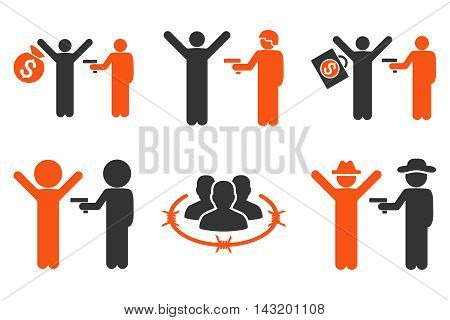 Thief Arrest vector icons. Pictogram style is bicolor orange and gray flat icons with rounded angles on a white background.