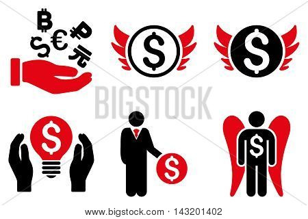 Angel Investor vector icons. Pictogram style is bicolor intensive red and black flat icons with rounded angles on a white background.
