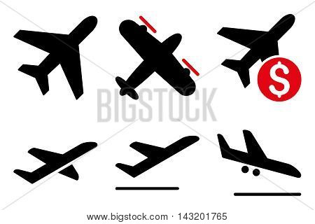 Aviation vector icons. Pictogram style is bicolor intensive red and black flat icons with rounded angles on a white background.