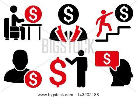Businessman vector icons. Pictogram style is bicolor intensive red and black flat icons with rounded angles on a white background.