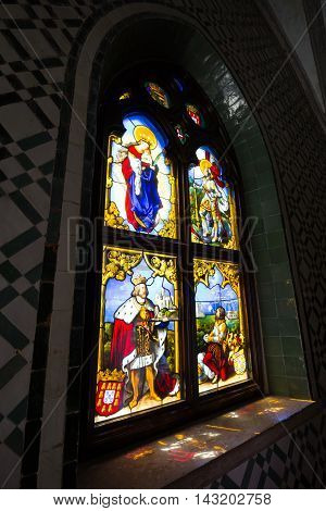 Sintra Portugal - April 13 2015: Stained glass window from Pena National Palace in Sintra Portugal