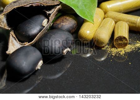 The seeds of Velvet bean or Mucuna pruriens with pill of capsule that contain crushed of mucuna pruriens seed have been used for traditional medicine selective focused